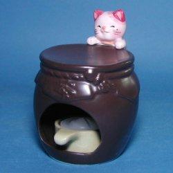 画像1: ハッピーキャット茶香炉(ピンク)