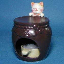 画像1: ハッピーキャット茶香炉(イエロー)